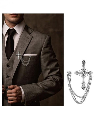 Sword brooch lapel pin for men