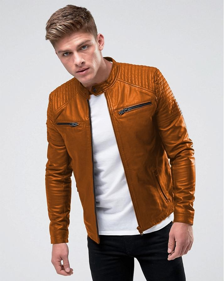 Highstreet Mustard Faux Leather Jacket For Men