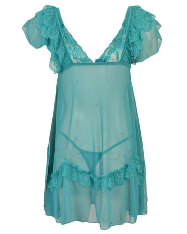 Pack of 2 Short Floral Net Nighty and G-String Panty for Women (Free Size) - Neon Blue UG-387