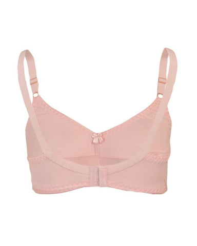 Roses Gold Jolly Jersey 2 Hooks Plain Bra for Women - Pink UG-463-32