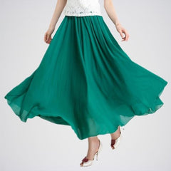 Dark Green Retro Chiffon Pleat Maxi Long Skirt. E4h-Dgrskt