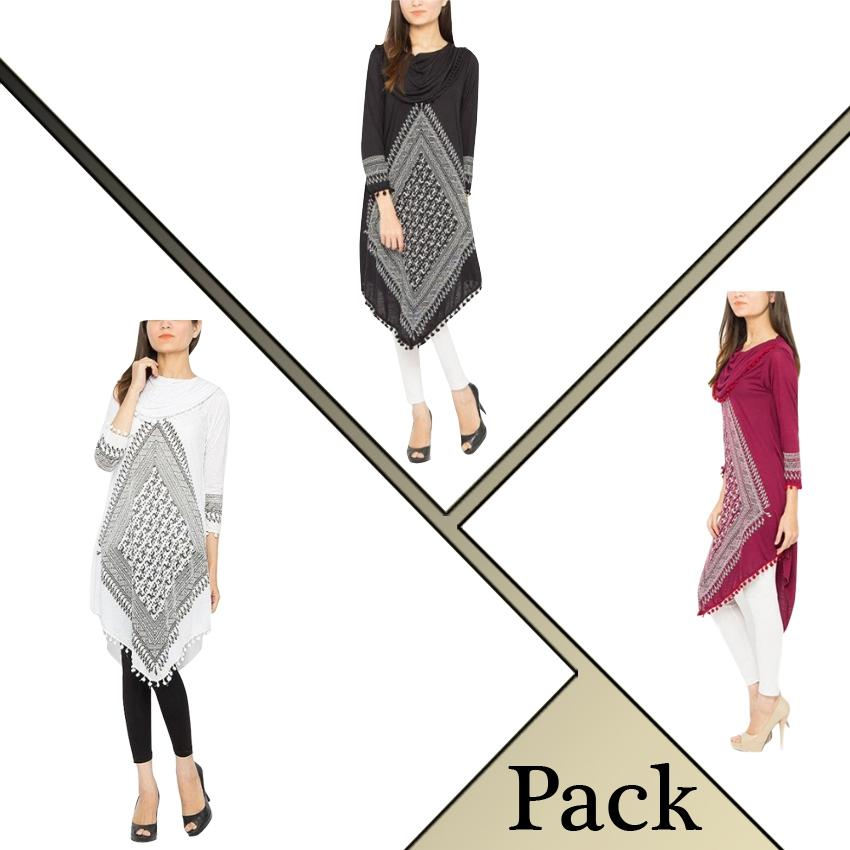 Pack Of 3 Printed Stylish Top For Women