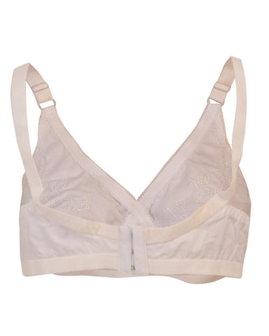 Roses Luxury Soft Cotton 3 Hooks Embroidered Bra for Women - White UG-478-32