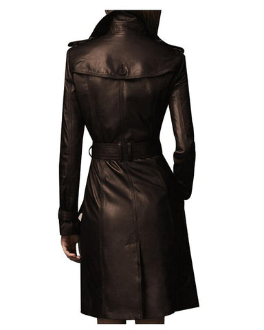 Brown Leather Long Coat For Women