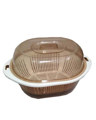 HQ Plastic Storage Bowl With Platter Detachable Base - Brown