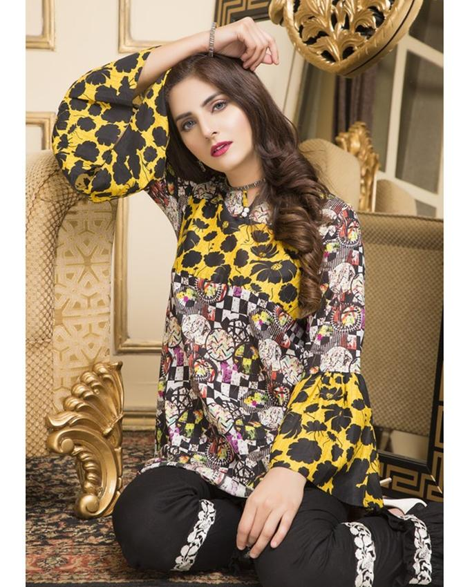 Russian Basic Floral Multicolor Lawn 1-Piece Shirt For Women