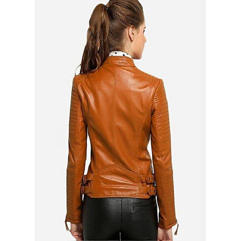 Women Slim Fit PU Tan Leather Jacket MB-102