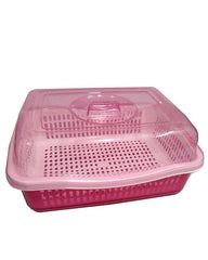 HQ Plastic Storage Bowl With Platter Detachable Base - Large - Pink