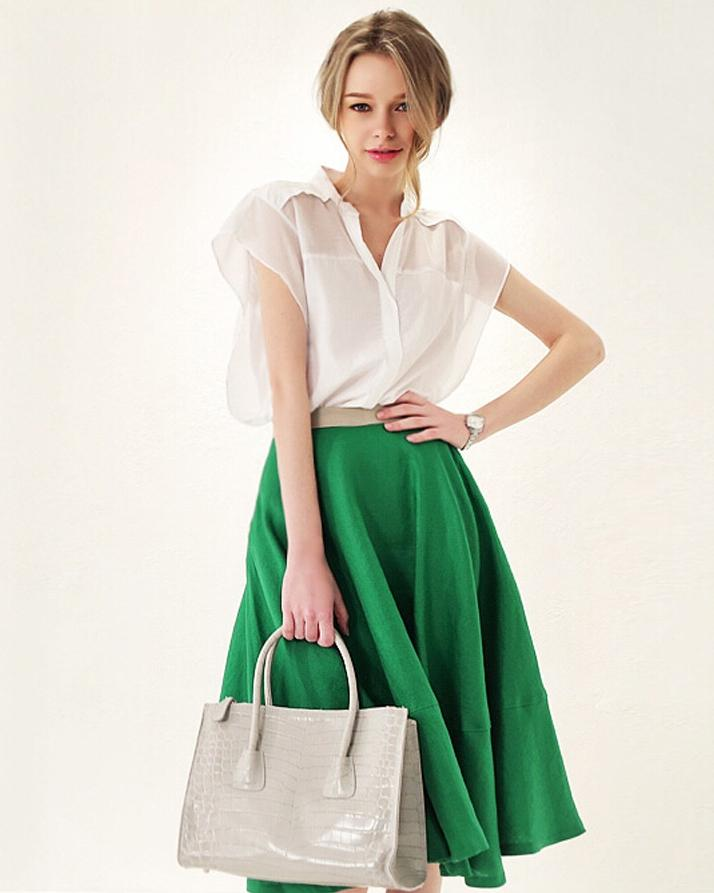 White & Green Independence Day Dress For Women