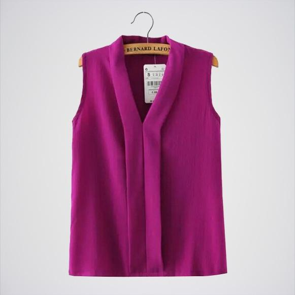 Purple Chiffon Sleeveless Casual Slim Top. E4h-110028