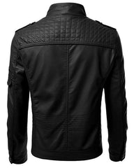 Brown Men Slim Fit Pu Leather Jacket - Brown-C1