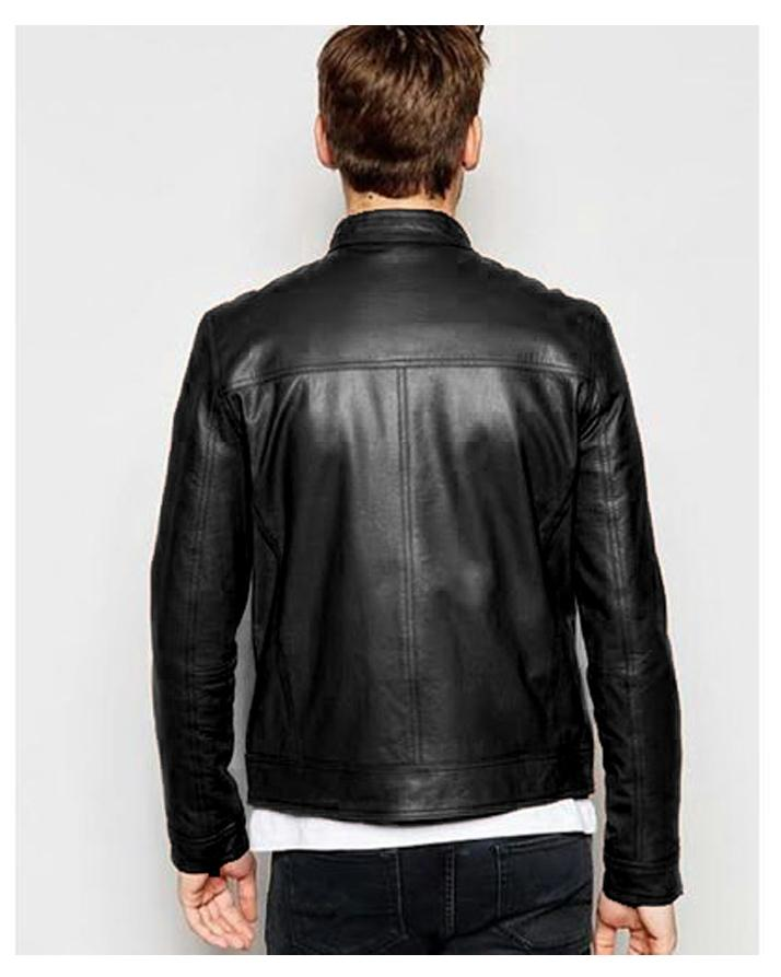 Black Faux Leather High Street Jacket for Men