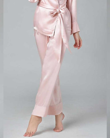 Baby Pink Silk Sleepwear PJ Set For Women
