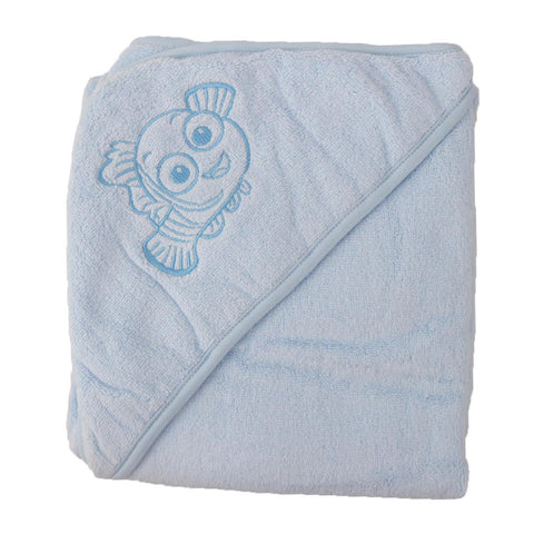 Disnep Baby Original Hooded Double Bath Towel for Kids (100% Cotton) Finding Nemo  30x30 Inch Blue