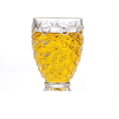 Crystal Clear Pineapple Shaped Drinking Glasses - Set of 6 Pieces - 250 ml Each -7225-A