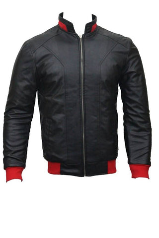 Men's Slim Fit PU Leather Jacket Black MB-RS-4