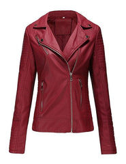 Ladies Pu Leather Jacket Women Leather Jacket BVR-RED-01
