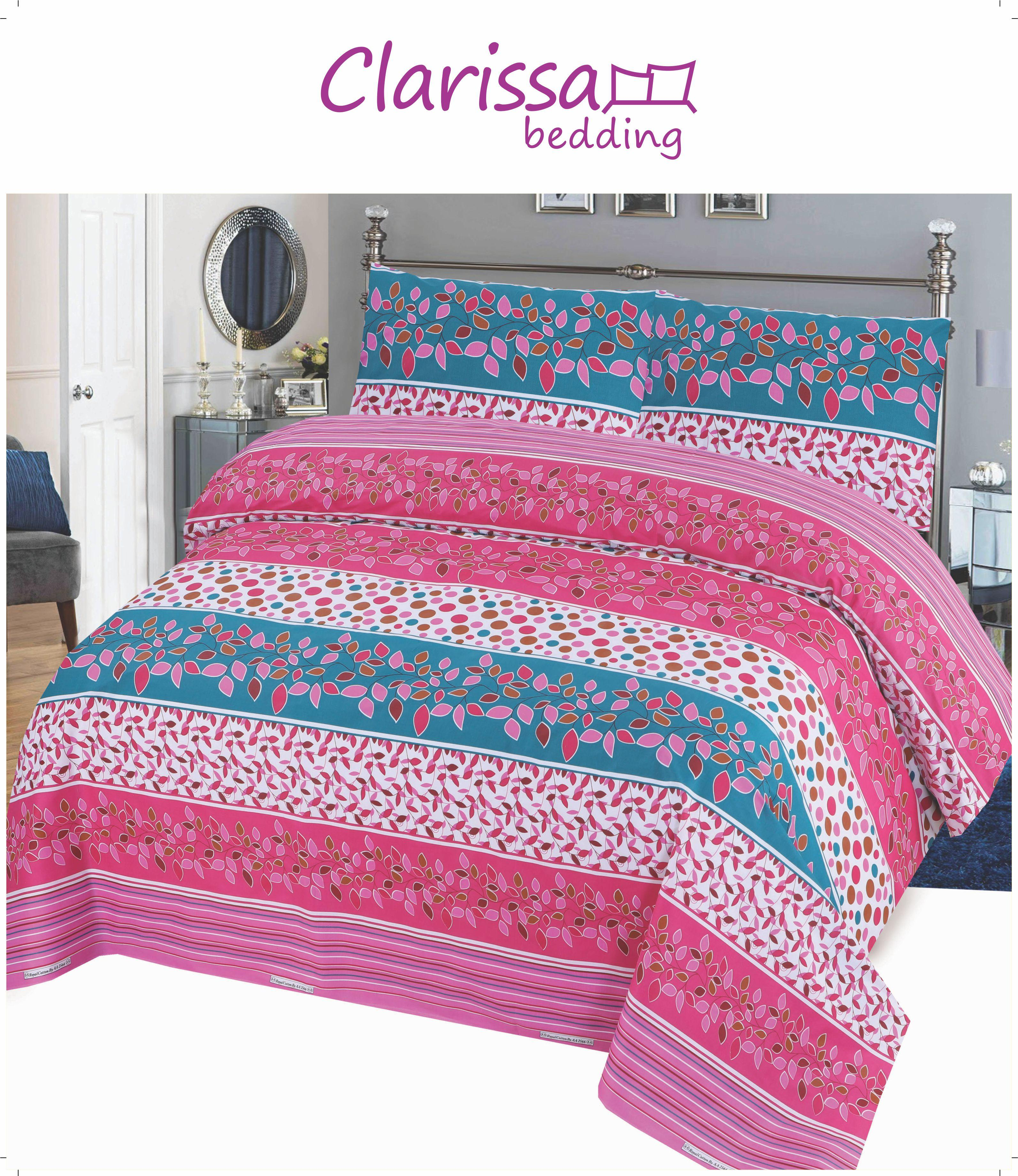 3 Piece Printed Double Bedsheet Set - MultiColor - 04