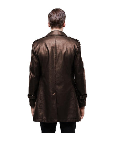 Brown Leather Long Coat For Men
