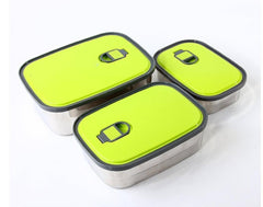 Stainless Steel Food Container - 3 Pcs - Green & Silver