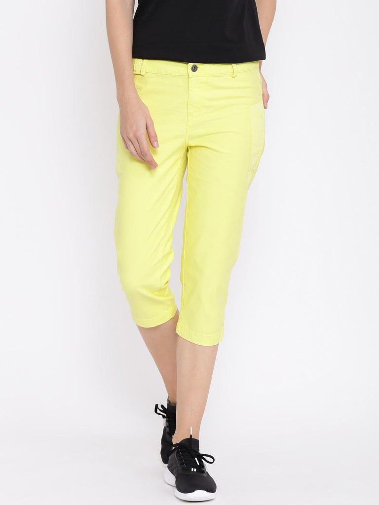 Yellow Slim Fit Denim Capri For Women
