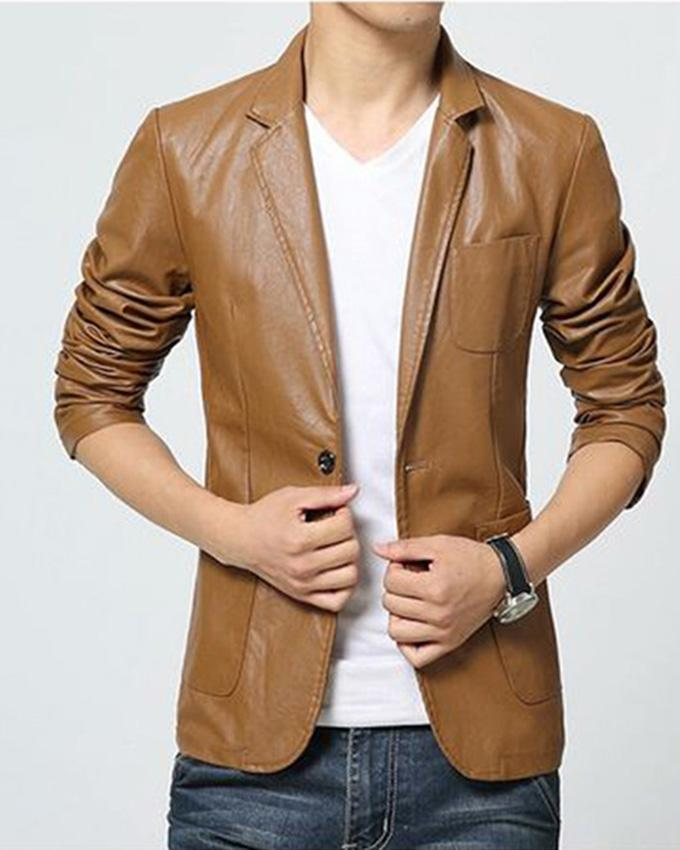 Brown Leather Dress Coat for Men