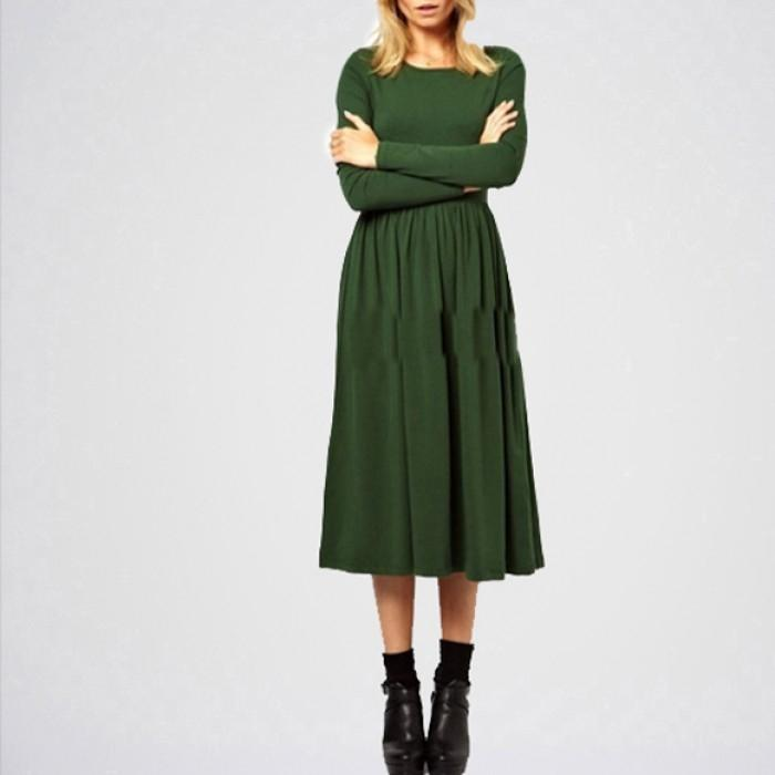 Green Linen Plain Slim Waist Dress