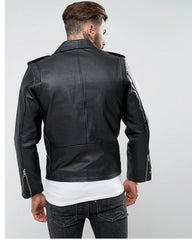 Highstreet Black Faux Leather Jacket For Men