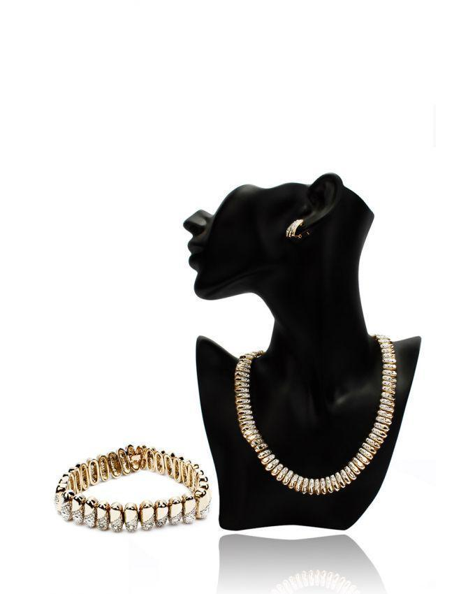 18 K Gold Plated Antique Bullet Style Necklace Earrings & ID Bracelet