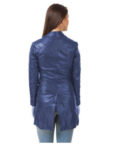 Dark Blue Leather Long coat For Women