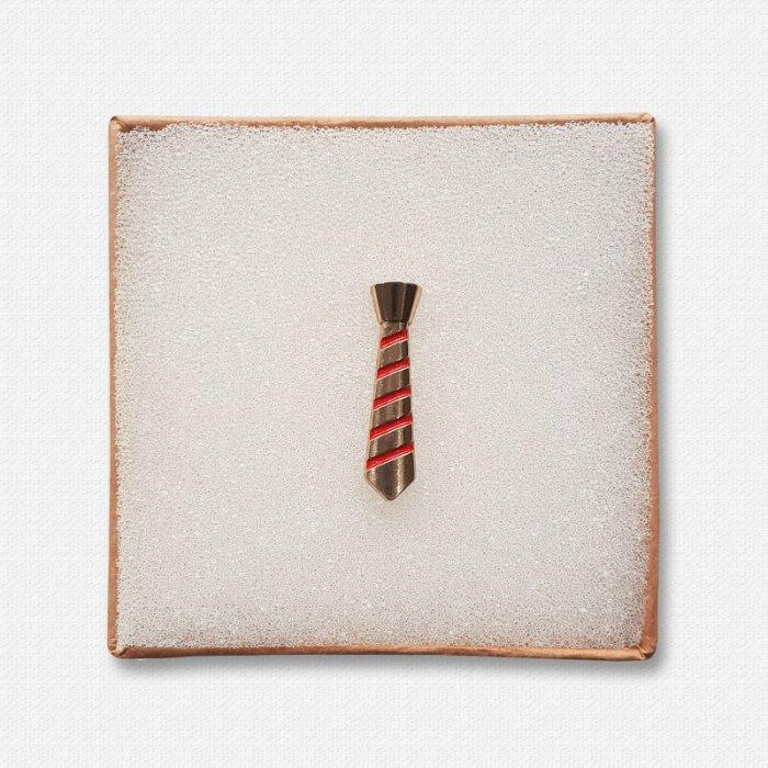 Golden Metallic Tie Lapel Pin