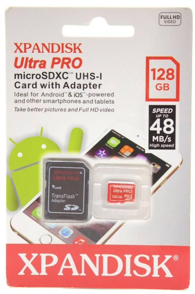 128 GB Xpandisk Ultra Pro microSDX UHS-I CARD with Adapter