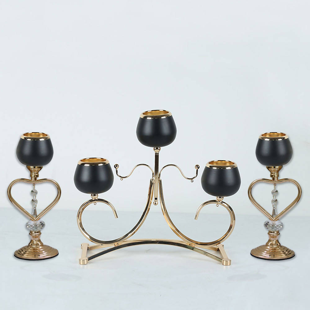 Pack of 3 Candle Holder Set table decor black gold metal candle holder 2 Single Head & 1 three Heads Metal Chandelier Stands Matte Black & Gold 2456-C