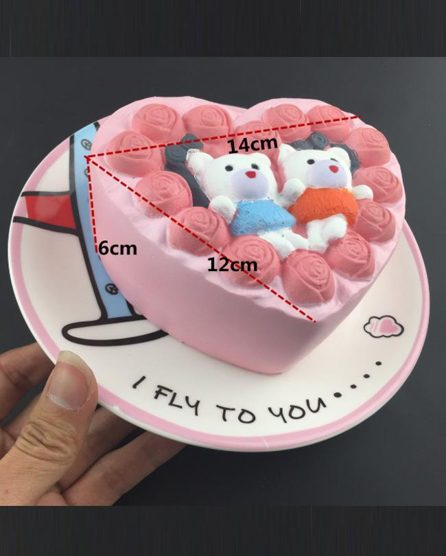 14 cm Super Slow Rising Scented Rose Lover Couple Rose cake Heart Shape Squishy Stress Relief Toy