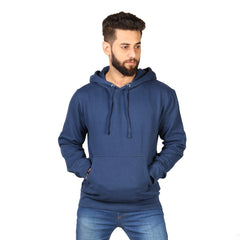 Ocean Blue Plain Kangroo Hoodie for Men