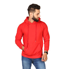 Red Plain Kangroo Hoodie for Men