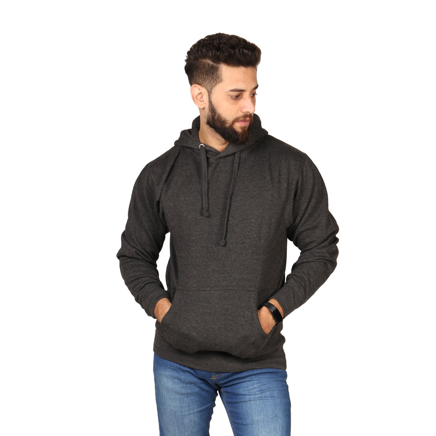 Grey Plain Kangroo Hoodie for Men