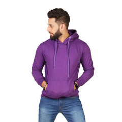 Purple Plain Kangroo Hoodie for Men