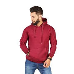 Mehroon Plain Kangroo Hoodie for Men