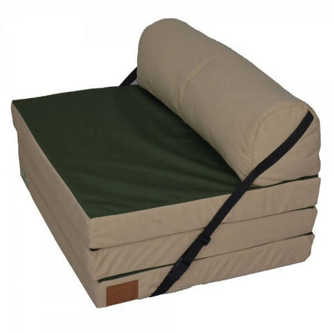 Relaxsit - Fold Out Z Chair Bed Fabric Single Chair - Bed Z Guest Fold Out Futon Foam Folding Chair Bed - Two tone Sofa Chair Bed Mattress Foam Army Green