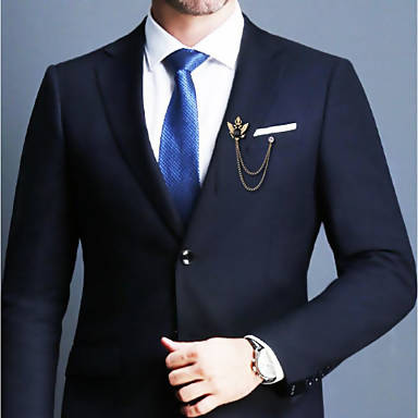 Stylish golden and black men brooch lapel pin coat pin