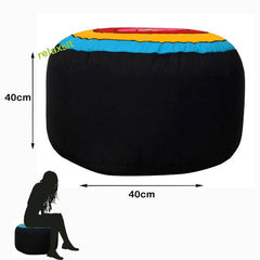 Relaxsit Colorful Round Shape Stool Circles Fabric Bean Bag - Ottoman Footrest Bean Bag Stool