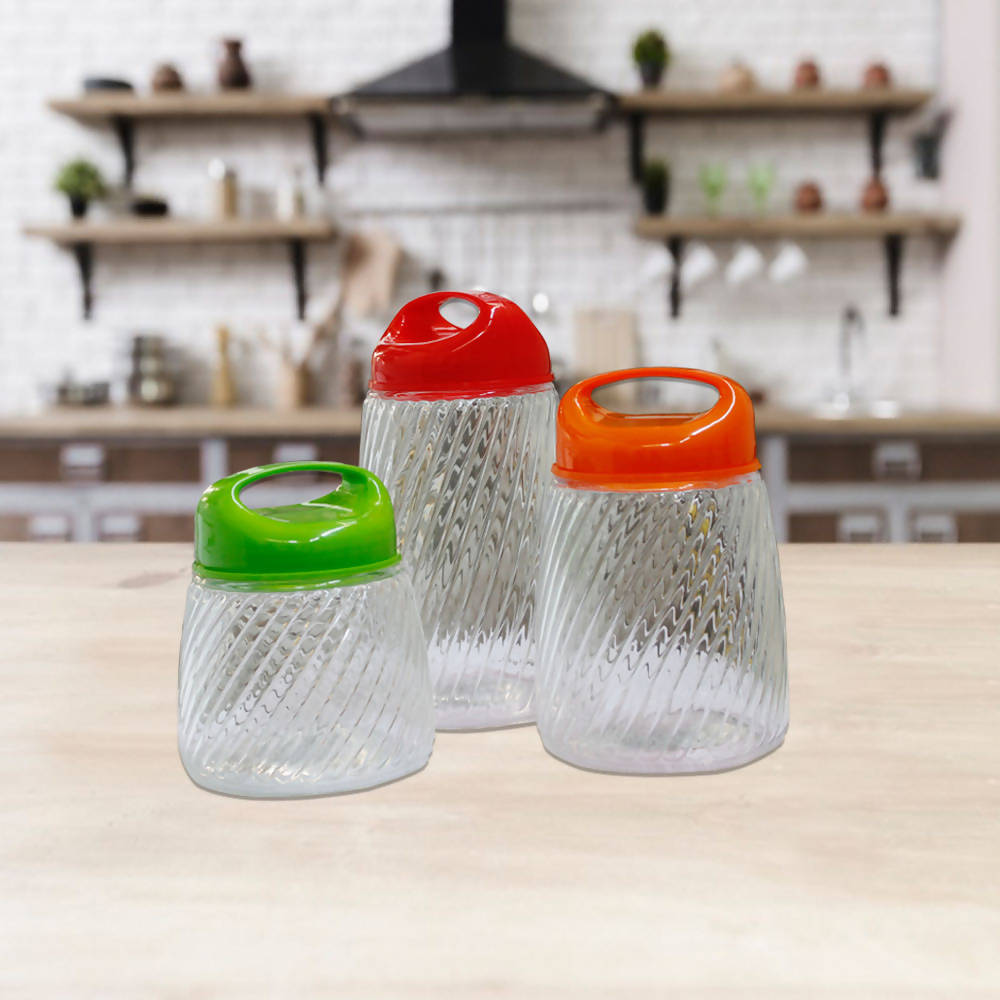 Pack of 3 Modern Style Glass Storage Jar Kitchen Canister Set Liquid Sealed Transparent Kitchen Essential with Durable Colorful Lid - 7205