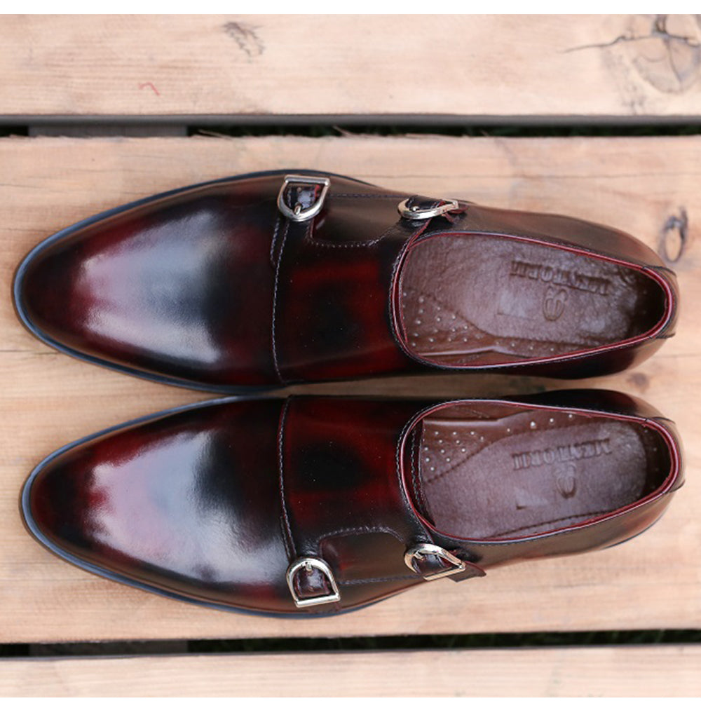 Mentorii Shoes Plain Double Monks Italian JD 060 Brown