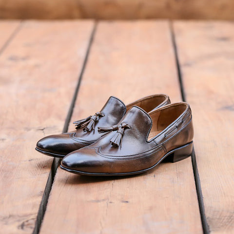 Mentorii Shoes Loafer In Italian Shaded Finish JD 070 Brown