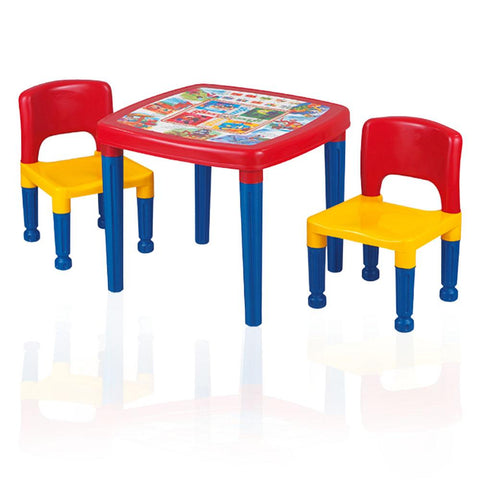 Citizen Kids Cartoon Table with Two Chairs in Plastic - Multicolor