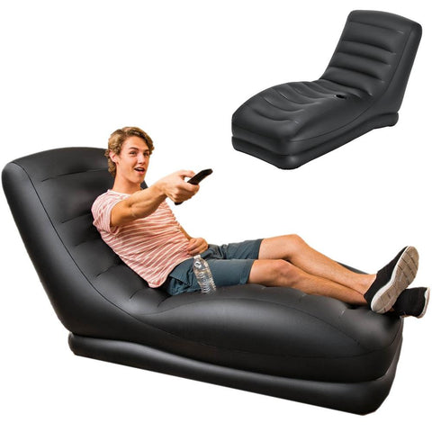 Mega Lounge Lay Back Reading & Gaming Inflatable Chair - Black