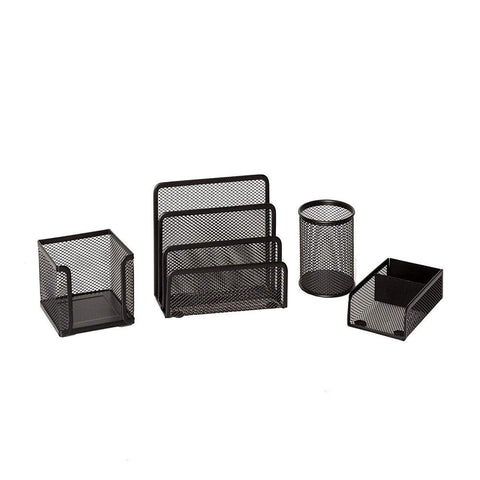 Mesh Desk Organizer Set For Office – Black