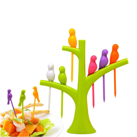 6 Pcs Birdie Fruit Fork - Multi Color