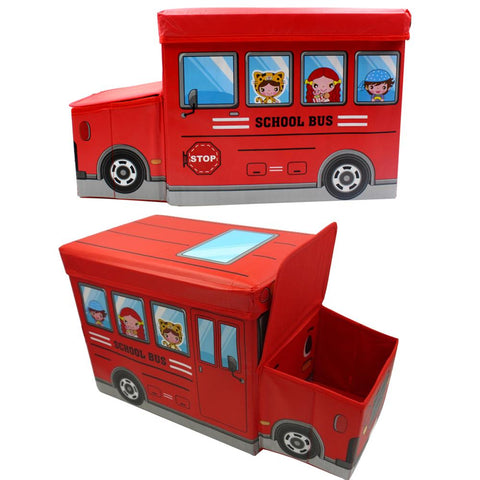 School Bus Toy Storage Box with Sitting Hood - Red
